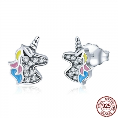 100% 925 Sterling Silver Fashion Licorne Memory Clear CZ Stud Earrings For Women Sterling Silver Jewelry Gift SCE426
