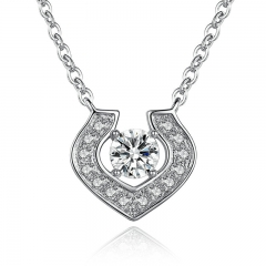 New Heart Pendant Silver Color Crystals Necklace Women White Gold Women Engagement Accessories YIN054