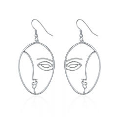 Popular New Silver Color Hyperbole Abstract Face Dangle Drop Earrings for Women Fashion Earrings Jewelry YIE112