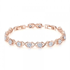 4 Colors Clear CZ Gold Color Bracelets for Women Elegant Tennis Chain Link Women Bracelet Fine Silver Jewelry YIB043