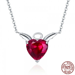 New Collection 100% 925 Sterling Silver Angel Wings Red CZ Necklaces Pendant For Women Sterling Silver Jewelry SCN285