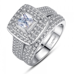 White Gold Color Ring Set 2 pcs Square Stone Crystal Finger Ring for Women Pave AAA Zircon Stone Jewelry Gift YIR063