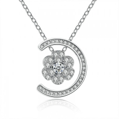 Stunning Silver Color Elegant Sunflower with AAA Zircon Necklaces & Pendants Jewelry YIN061