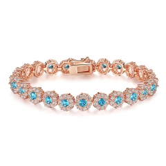New Hot Sale Blue Crystals Luxury Fashion Rose Gold Color Women Bracelet Party Jewelry Wholesale JIB081 FASH-0094