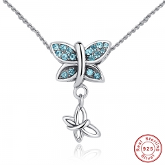 New Fashion 925 Sterling Silver Blue Crystals Butterfly Pendant Necklace for Women Engagement Fine Jewelry CC030