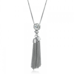 2018 New Arrival Silver Sweater Long Tassel Necklace Women Round Chain Long Pendant Necklace Jewelry YIN066