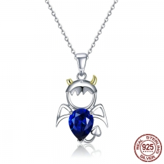 Real 100% 925 Sterling Silver Lovely Angel And Devil Pendant Necklaces Blue CZ Necklace For Women Silver Jewelry SCN283