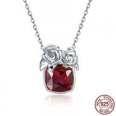 Romantic 925 Sterling Silver Rose Flower Pendant Necklaces for Women Valentine Gift Red CZ Sterling Silver Jewelry BSN003