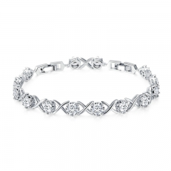 Trendy Silver Color Clear CZ Bracelets for Women Classic Tennis Chain Link Women Bracelet Fine Silver Jewelry YIB045 FASH-0128
