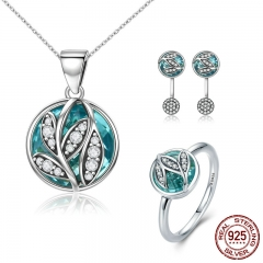 Authentic 925 Sterling Silver Jewelry Set Green Crystal CZ Tree of Life Bridal Jewelry Set Sterling Silver Christmas Gift SET-0019