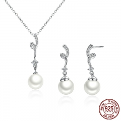 Popular Elegant 925 Sterling Silver White Pearl Jewelry Set for Women Pendant Necklace & Earrings SCN048+SCE035 SET-0001
