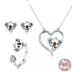 100% Real 925 Sterling Silver Cute Bear Koala Animal Collection Girls Jewelry Set Sterling Silver Jewelry Gift ZHS062 SET-0047