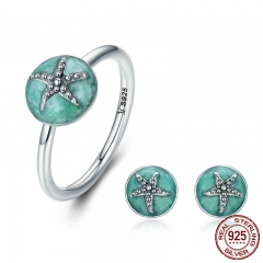 Authentic 925 Sterling Silver Dazzling Starfish Finger Ring & Earrings Jewelry Sets Luxury Sterling Silver Jewelry Gift SET-0027