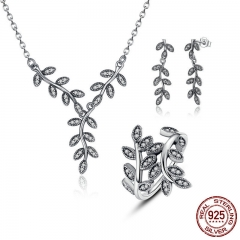925 Sterling Silver Sparkling Leaves Leaf Long Pendant Necklace Silver Bridal Jewelry Sets Sterling Silver Jewelry ZHS010 SET-0004