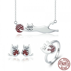 100% 925 Sterling Silver Set Naughty Little Cat Necklace Earrings Ring Jewelry Sets Sterling Silver Jewelry Gift ZHS046 SET-0029