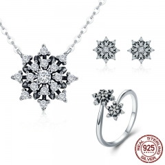 100% 925 Sterling Silver Luminous CZ Sparkling Snowflake Geometric Women Jewelry Set Sterling Silver Jewelry Gift ZHS057 SET-0044