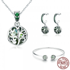 Authentic 925 Sterling Silver Sets Tree of Life Green Crystal AAA CZ Jewelry Set Sterling Silver Jewelry Gift SCN197 SET-0039