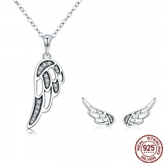 Authentic 100% 925 Sterling Silver Fairy Wings Feather Women Necklace Earrings Jewelry Set Authentic Silver Jewelry Gift SET-0040