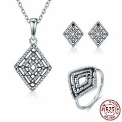 Genuine 100% 925 Sterling Silver Geometric Lines Clear CZ Earrings Necklace Jewelry Set Sterling Silver Jewelry ZHS050 SET-0037