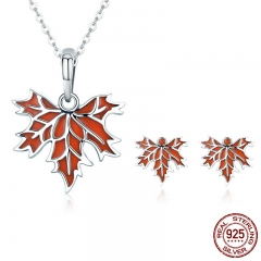 Authentic 100% 925 Sterling Silver Autumn Maple Tree Leaves Necklace Earrings Jewelry Set Sterling Silver Jewelry Gift SET-0038