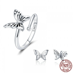 Authentic 925 Sterling Silver Jewelry Set Vintage Butterfly Rings & Earrings Jewelry Sets Wedding Engagement Jewelry TAO-0066