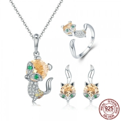 Authentic 925 Sterling Silver Cute Crystal Fox Jewelry Set Dazzling Cubic Zircon Animal Jewelry Sets Women Jewelry SCE527 TAO-0058