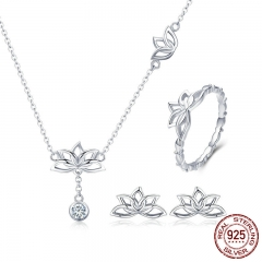 Elegant 925 Sterling Silver Lotus Flower Earrings & Necklaces Pendant Jewelry Sets for Women Silver Jewelry Gift ZHS067 TAO-0056