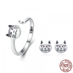 Authentic 925 Sterling Silver Sticky Cat Adjustable Rings Earrings for Women Jewelry Set Sterling Silver Jewelry Gift TAO-0064