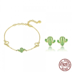 Authentic 925 Sterling Silver Cactus Green CZ Plant Bracelets Stud Earrings Jewelry Set Sterling Silver Jewelry Gift TAO-0063
