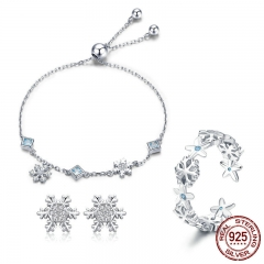 Fashion 925 Sterling Silver Winter Gift Snowflake Bracelets & Earrings & Rings Jewelry Sets Sterling Silver Jewelry Set TAO-0061