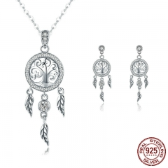 Authentic 925 Sterling Silver Tree of Life Dream Catcher Necklaces Pendant Jewelry Set Sterling Silver Jewelry SCE457 TAO-0054
