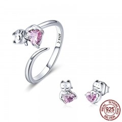 uthentic 925 Sterling Silver Cute Cat Pussy Pink CZ Rings & Earrings Jewelry Sets Fashion Sterling Silver Jewelry Set SCE453 TAO-0055